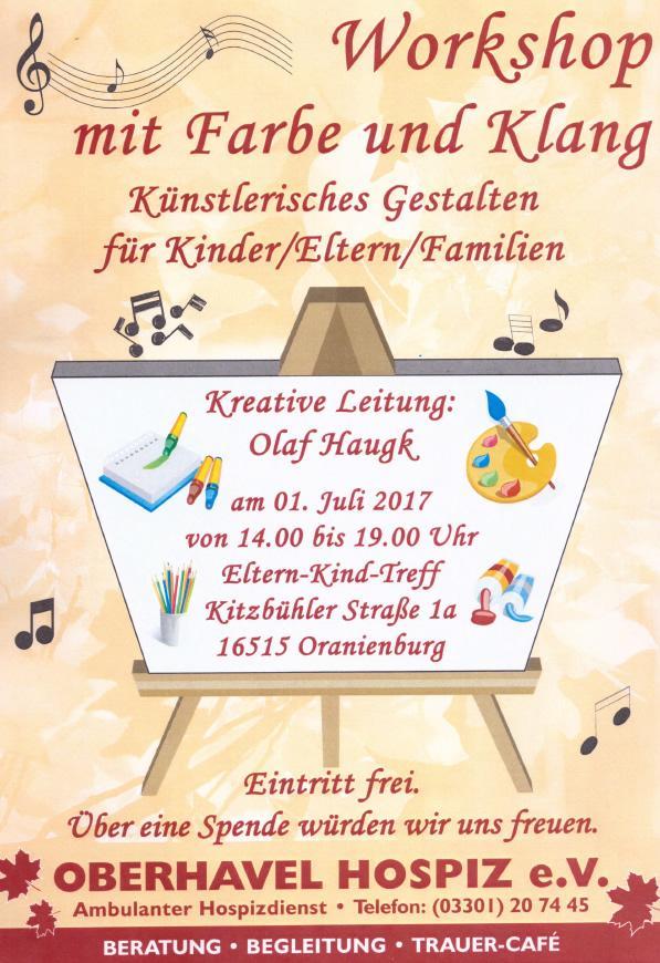 Workshop mit Farbe und Klang im EKT am 01.07.2017