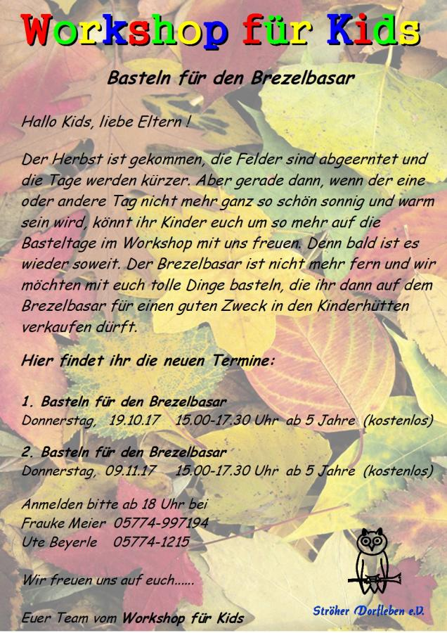 Workshop für Kids Okt.-Nov 2017