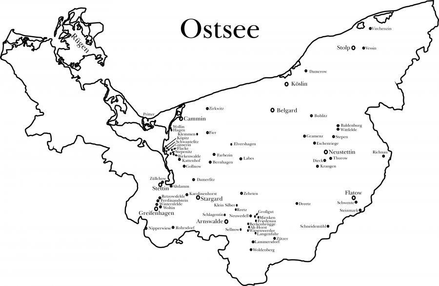 Auf der Karte von Pommern sind nur die Orte eingetragen, aus denen Flüchtlinge und Vertriebene nach Neukalen kamen.