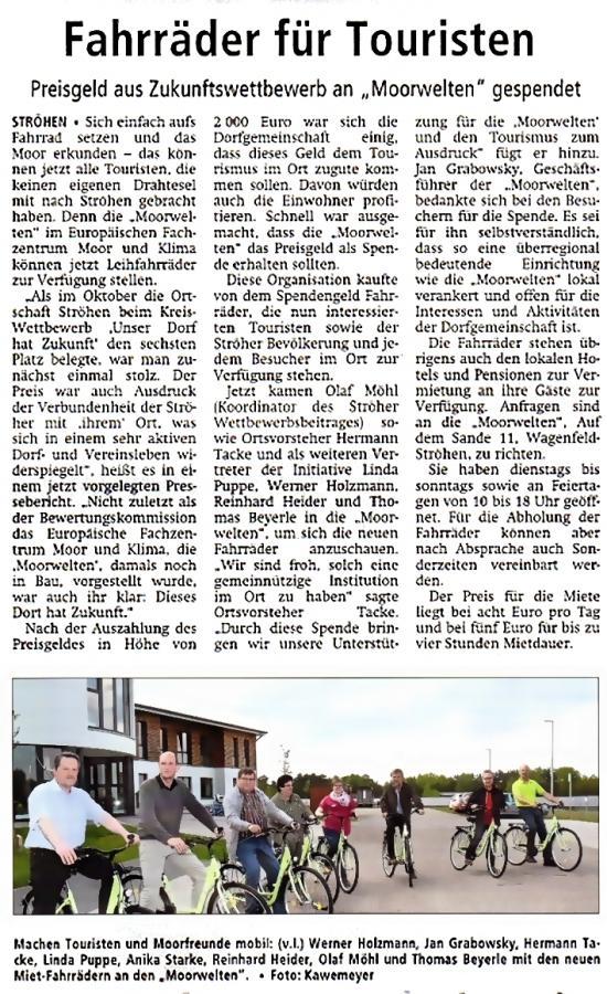Zeitungsbericht -Fahrräder