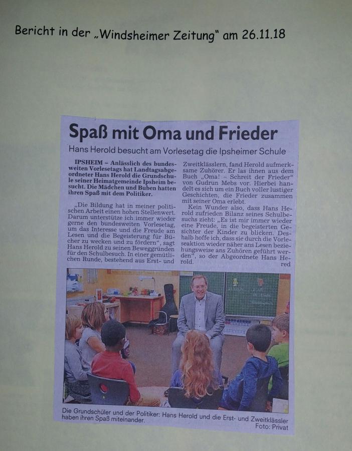 Zeitungsartikel Vorlesetag