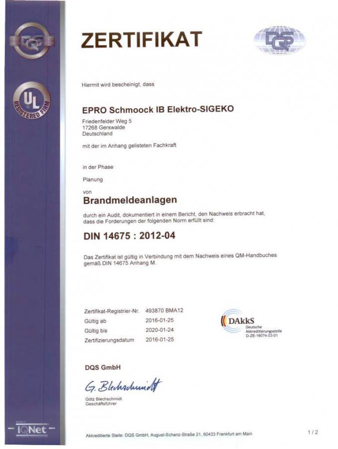 Zertifikat DIN 14675