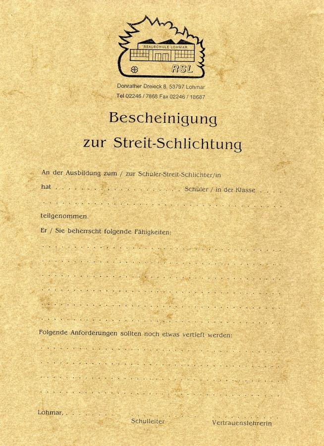 Zertifikat: Befähigung zum Streitschlichter/in