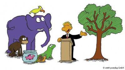 """""""Damit es gerecht zugeht, erhalten Sie alle die gleiche Aufgaben: Klettern Sie auf den Baum"""""""