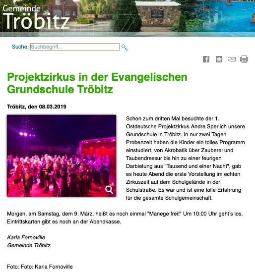 Artikel der Gemeinde Tröbitz
