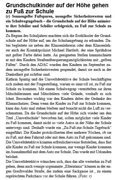 Zu Fuß zur Schule - Stadtteilzeitung - Dezember 2018