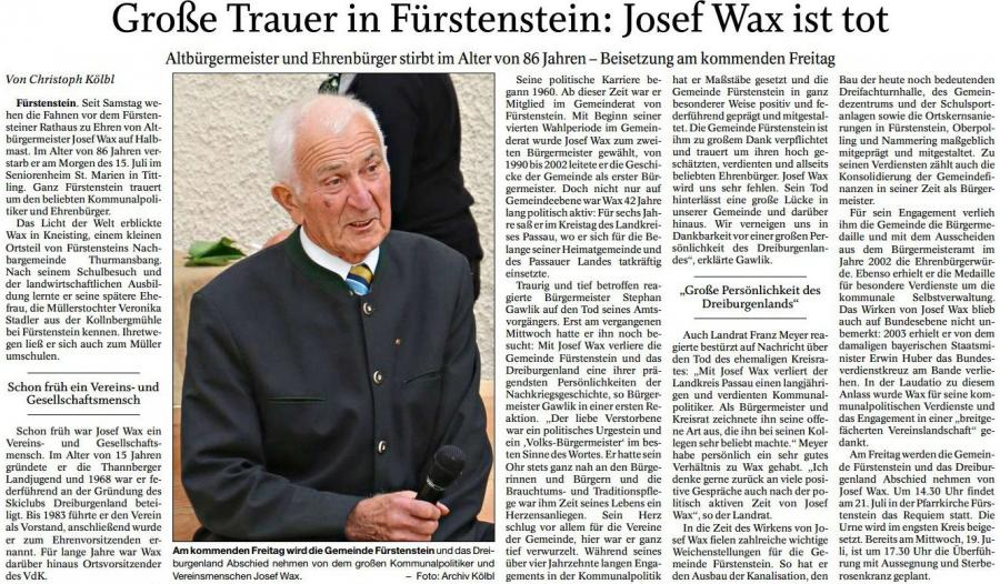 Tod von Altbürgermeister Josef Wax