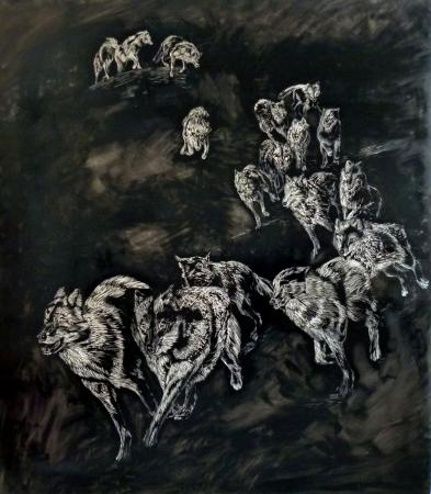 Heimkehrer, 2013, Linolschnittobjekt, 220 x 195 cm