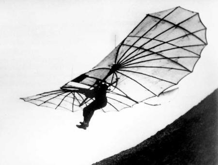 Otto Lilienthal bei Flugversuch