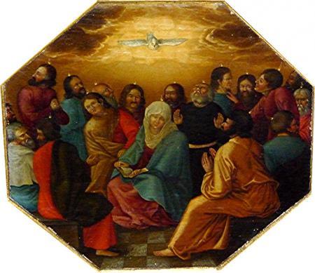 Pfingstszene - Malerei im Kanzeldeckel