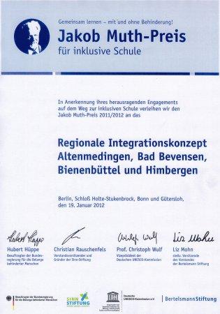 Urkunde Jakob-Muth Preis 2012