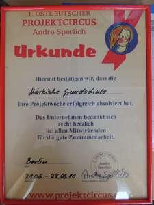 Urkunde Zirkus 2014