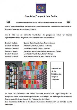 Vorlesewettbewerb DPS 2009