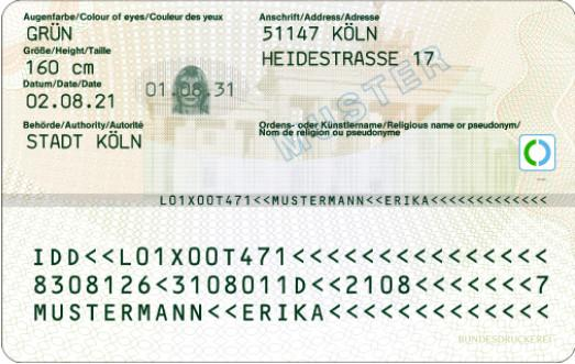 Muster elektronischer_Personalausweis_Rückseite (Foto: Stadtverwaltung Treuenbrietzen)