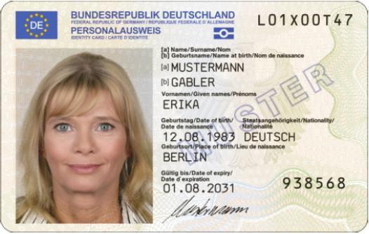 Muster elektronischer_Personalausweis_Vorderseite (Foto: Stadtverwaltung Treuenbrietzen)