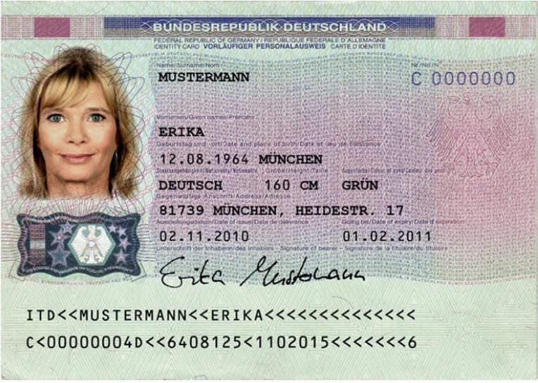 Muster vorläufiger Personalausweis Vorderseite (Foto: Stadtverwaltung Treuenbrietzen)
