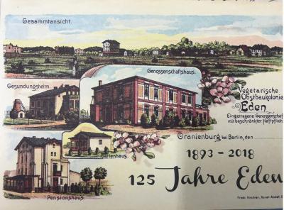 """Postkarte zum Jubiläum """"125 Jahre Eden Oranienburg"""""""