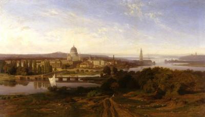 """Karl Lindemann-Frommel, """"Blick auf die Stadt Potsdam vom Brauhausberg"""", 1861, Nationalgalerie Berlin"""