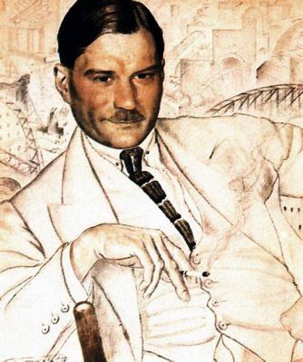 """Boris Kustodiev, """"Portrait des Autors Jewgeni Samjatin"""", 1923"""