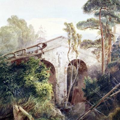 Teufelsbrücke im Landschaftspark Glienicke von A. Lompeck, 1852 (SPSG)