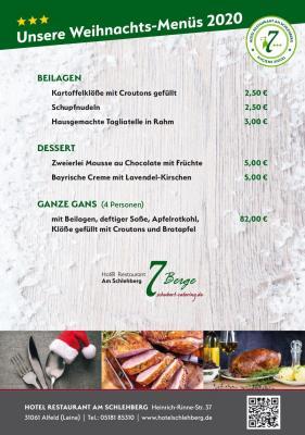 Unsere Weihnachts-Menüs 2020 2/2
