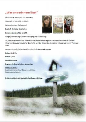 Musikalische Lesung am 11.11.2020 im Rathaussaal Schildau mit Kati Naumann