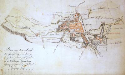 : Stadtarchiv Dieburg, Plan von G.G.  Schmidt: Verlauf der Gesprenz und den dazugehörigen Gräben in der Gemarkung von Dieburg.