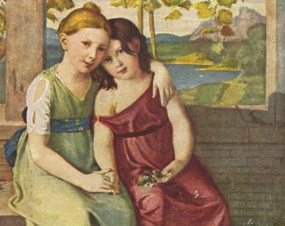 Adelheid und Gabriele von Humboldt (verh. Gabriele von Bülow),  ca. 1800, Gemälde von Gottlieb Schick (1776–1812)