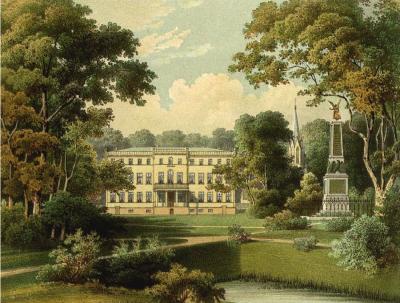 Schloss Tamsel, Kreis Landsberg, Provinz Brandenburg, bei Küstrin, Lithographie von Alexander Duncker