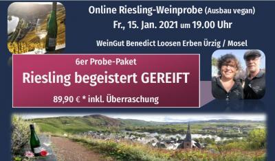 Online Weinprobe: Dem RIESLING widmen wir zu seinem GEBURTSTAG diese Online Weinprobe:  Spätlese von 80 Jahre alten Reben -gewachsen an der Ürziger Sonnenuhr