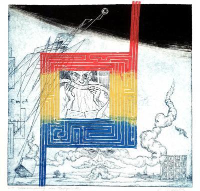 Überwindung des Labyrinths, Druckgrafik von Helmut Matetzke