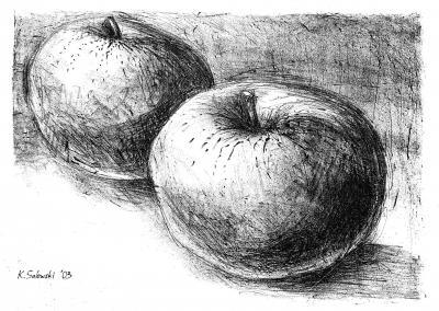 Stillleben mit Äpfeln, Radierung von Kristian Salewski