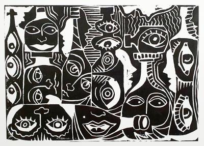 Ferngläser der Nacht, Linoldruck von Sven Bremer