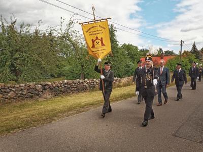 Parade der Bergleute in Begleitung des Drebkauer Bürgermeisters Herr Köhne