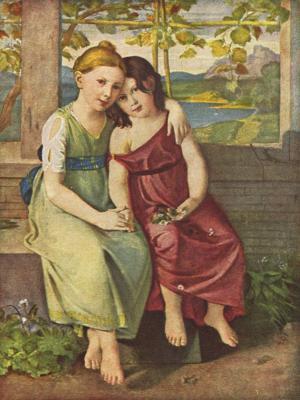 Adelheid und Gabriele von Humboldt ca 1800,  Gemälde von Gottlieb Schick  1776–1812