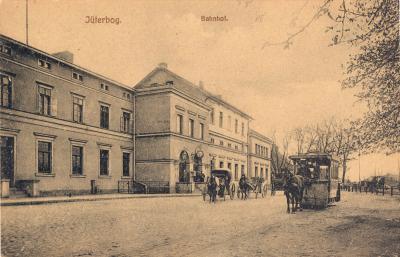 Pferdebahn vorm Bahnhof Jüterbog