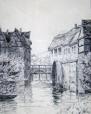 Martha Bombach, Brückenmühle in Dieburg, Tuschezeichnung